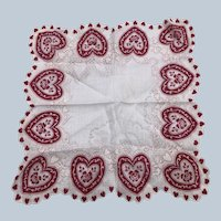 Vintage Valentine Day Scalloped Heart Floral Handkerchief With Tag