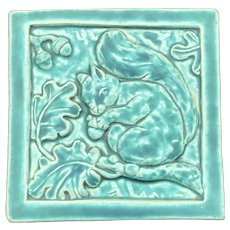 1993 90th Anniversary Arts & Crafts Style Green Squirrel Pewabic Pottery Tile