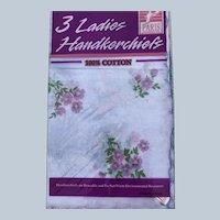 Vintage Cotton Paris Accessories Inc. 3 Pack New Old Stock Floral Scalloped Handkerchiefs
