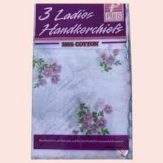 Vintage Cotton Paris Accessories Inc. 3 Pack New Old Stock Floral Scalloped Handkerchiefs