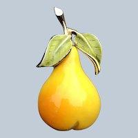 Quality Vintage Enamel Figural Pear Pin