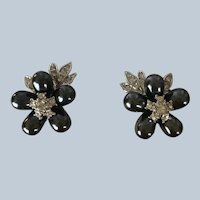 Vintage Nolan Miller Glamour Collection New In Box Gray Flower Rhinestone Clip On Earrings