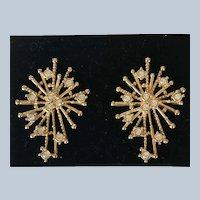 1992 Avon Rhinestone Snowflake Spray Pierced Earrings