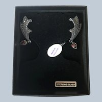 Vintage Thailand Sterling Silver Marquisette Red Rhinestone Dangly Pierced Earrings New In Box