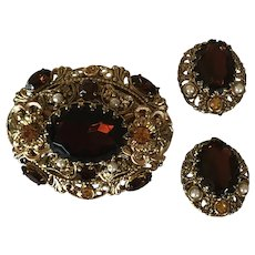 Beautiful Vintage West Germany Brown Glass Stones Pin With Clip Earrings