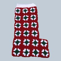 Large Vintage Handmade Crochet Granny Square Christmas Stocking
