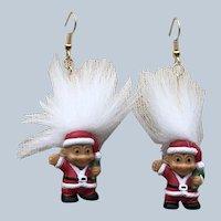 Vintage 1982 Russ Merry Little Troll Christmas Pierced Earrings