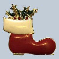 Signed BJ Beatrix Enamel Christmas Boot Pin Book Pin