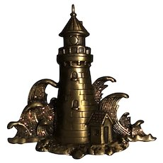 Vintage Bronze Lighthouse JJ Jonette Pin