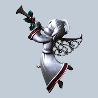 Vintage JJ Jonette Pewter Christmas Angel Blowing Horn Pin
