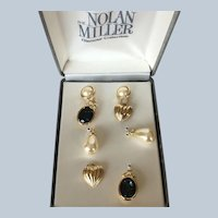 NOS Nolan Miller Glamour Collection Interchangeable Pierced Earrings Set