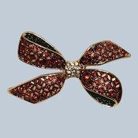 Vintage Monet Christmas Rhinestone Bow Pin