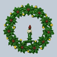 Vintage Painted Metal Christmas Poinsettias Candle Wreath Pin