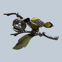 Vintage Bird On A Branch With A Nest Enamel Metal Pin