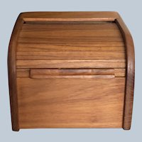 Vintage Kalmar Designs Teakwood Roll Top Recipe Box