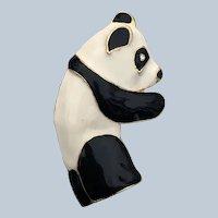 Vintage Enamel Figural Panda Bear Pin