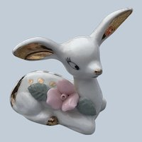 Vintage Chase Japan White Fawn Deer Figurine With Pink Rose Figurine