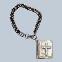 Vintage Mother Of Pearl Italy Miniature Bible Bracelet With Rosary
