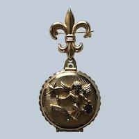 Vintage Coro Rhinestone Angel February Fleur De Lis Locket Pin