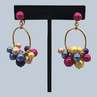 Vintage 1990's Avon Dangle Beads Clip Earrings Book Piece