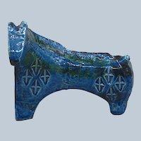1960s Italian Bitossi Rimini Aldo Londi Midcentury Blue Petite Horse Sculpture