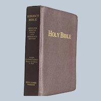 Vintage Burgundy Leather Large Print King James Version Subject Bible