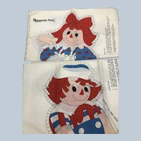 Vintage Raggedy Ann and Andy Cut N Sew Toy Doll Pillows