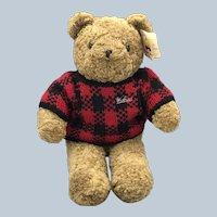 1988 Chrisha Creations Playful Plush Bear With Woolrich Sweater
