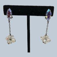 Vintage Lewis Seagal California Dangly Rhinestone Beads Clip Earrings