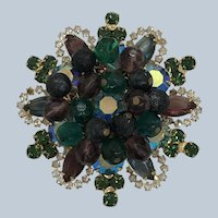 Vintage Beautiful Purple and Green Juliana Delizza & Elster Pin With Cha Cha Beads