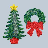 Vintage Small Popcorn Christmas Tree and Wreath