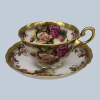 Vintage Royal Chelsea Golden Rose Bone China England Cup and Saucer Set