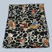 1994 Animal Print Polyester Flintstones Scarf