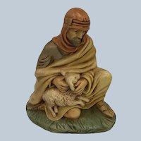 Vintage Christmas Nativity Shepherd With Lamb Figurine