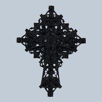 Vintage Jet Black Rhinestone Cross Pin
