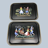 Vintage Artist John Teppich Folk Art She'll Be Comin Round The Mountain & Clementine Metal Trays