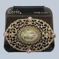 Vintage NOS Loree Gold Filigree Pink Rhinestone Pin