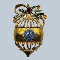 Vintage Rhinestone Christmas Ornament Pin