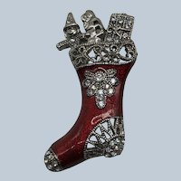 Vintage Enamel and Faux Marcasite Rhinestone Christmas Boot Book Piece