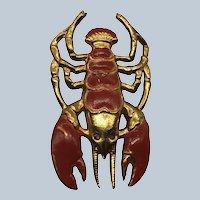 Vintage Lobster Gold Tone Enamel Figural Pin With Rhinestone Eyes
