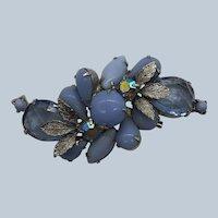 Vintage Juliana Pastel Blue Prong Glass Stones Rhinestone Pin