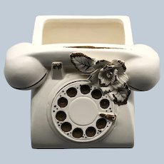 Rare Numbered 047 Lefton Telephone Cream Planter With Paper Label