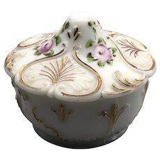 Vintage John T Kemble Milk Glass Hand Painted Vanity Dresser Covered Jar
