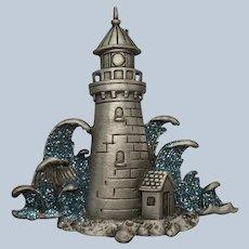 Vintage JJ Jonette Pewter Lighthouse Pin With Blue Glitter Waves