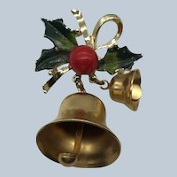 Vintage Christmas Brass Enamel Jingle Bells Holly Pin