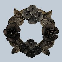Vintage Metal Bronze Dimensional Flower Wreath Pin