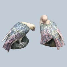 Vintage WBI China Dove Bird Figurine Set In Pastels