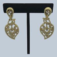 Vintage Kramer Yellow Enamel Rhinestone Dangle Clip Earrings