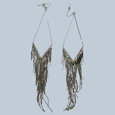 Vintage Long Boho Silver Tone Metal Dangle Pierce Earrings