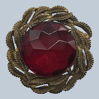 Vintage Art Deco Faceted Red Glass Gilt Leaves Pin